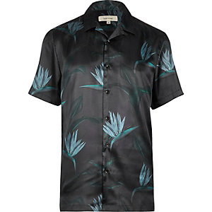Teal green paradise print shirt