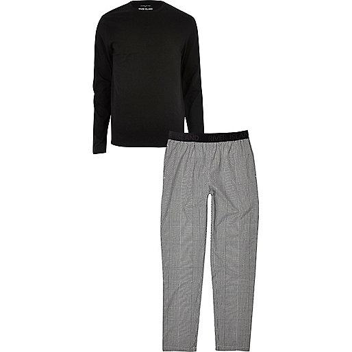 Black and grey branded pajama set