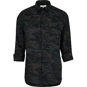 Black casual camo shirt