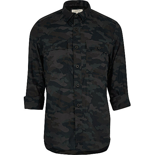 chemise camouflage noire casual chemises manches longues chemises homme. Black Bedroom Furniture Sets. Home Design Ideas