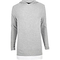 Light grey layered longline hoodie