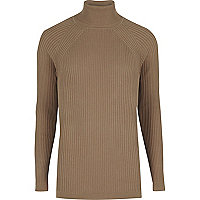 Light brown slim fit roll neck sweater
