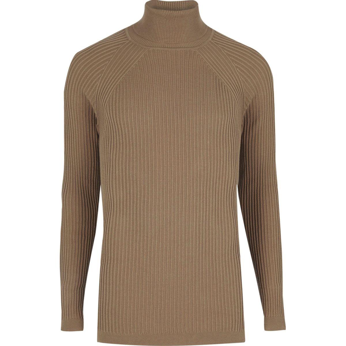 Light brown slim fit roll neck jumper