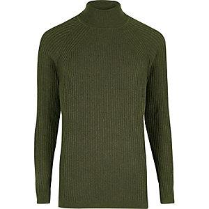 Green slim fit roll neck jumper