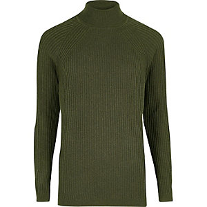 Green slim fit roll neck sweater