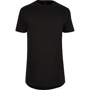 Zwart T-shirt met ronde zoom