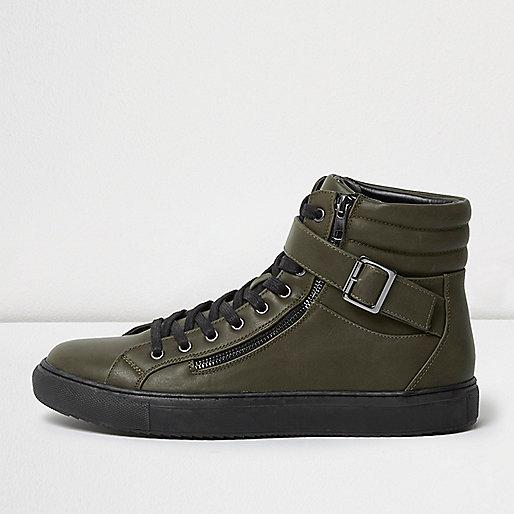 Dark green buckle strap hi tops