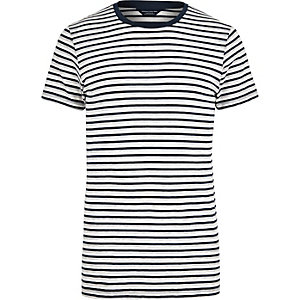Navy Jack & Jones Premium stripe T-shirt