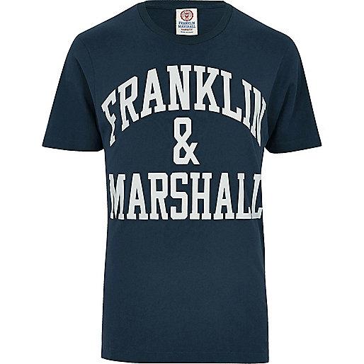 T-shirt imprimé Franklin & Marshall bleu marine