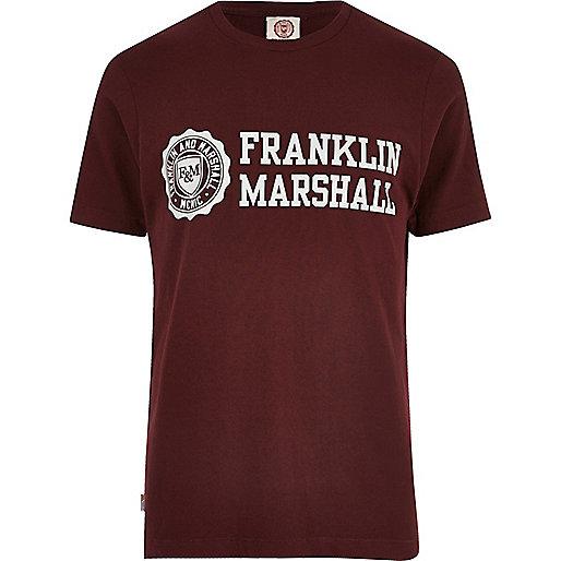 Burgundy Franklin & Marshall logo T-shirt