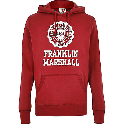 Franklin & Marshall – Roter, bedruckter Hoodie