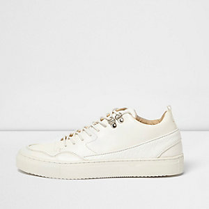 White panel mid height sneakers