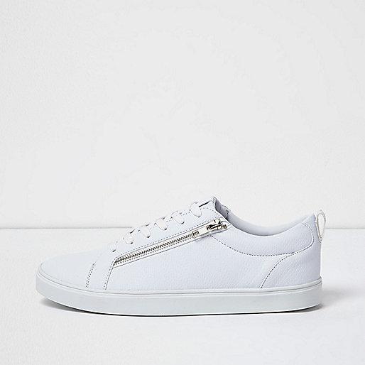 Baskets blanches à lacets zippées