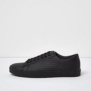 Baskets noires à empiècements texturés