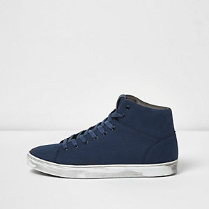 Blue perforated panel hi tops