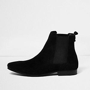 Zwarte hoge suède Chelsea boots