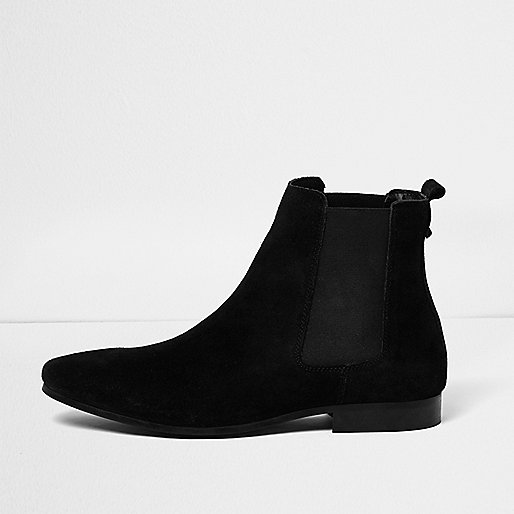 Black suede tall Chelsea boots