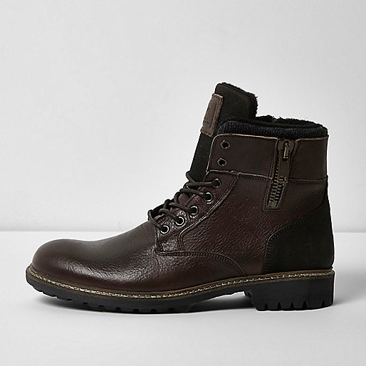 Dark brown leather military boots