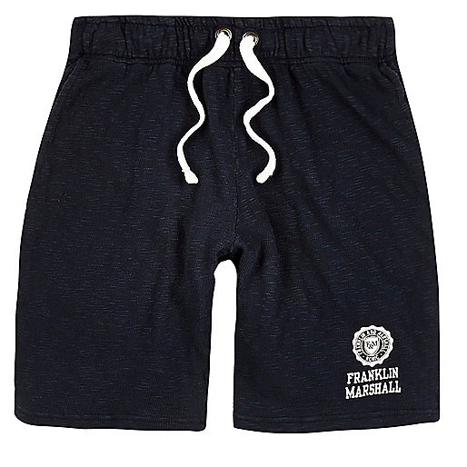 Navy Franklin & Marshall print jersey shorts