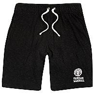 Franklin & Marshall – Schwarze, bedruckte Jersey-Shorts