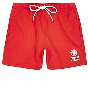 Red Franklin & Marshall swim trunks