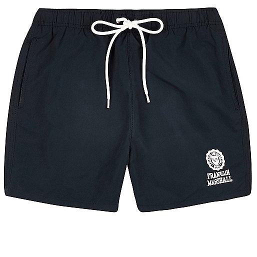 Navy Franklin & Marshall print swim shorts