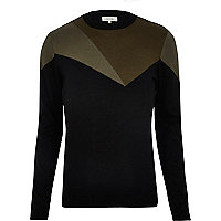Black sweater with khaki block pattern