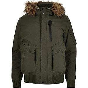 Khaki Schott faux fur hooded jacket