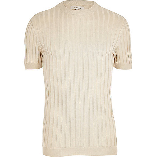 Stone ribbed muscle fit jumper
