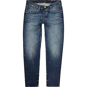 Blue paint splatter Jimmy slim tapered jeans
