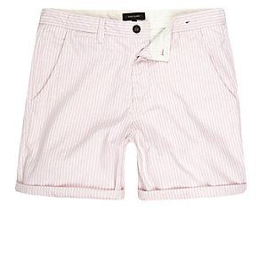 Roze gestreepte slim-fit casual short