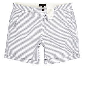 Blauwe gestreepte slim-fit casual short