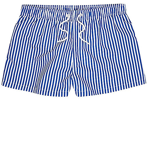 Blue stripe slim fit swim trunks