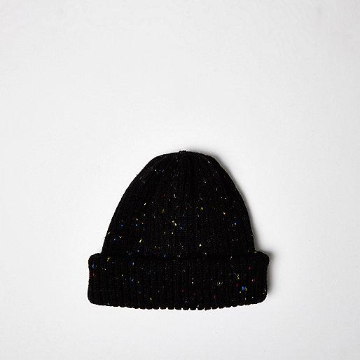 Bonnet de pêcheur noir moucheté