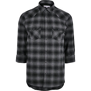 Grey casual check western flannel shirt