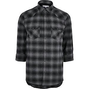 Chemise casual en flanelle à carreaux grise style Western
