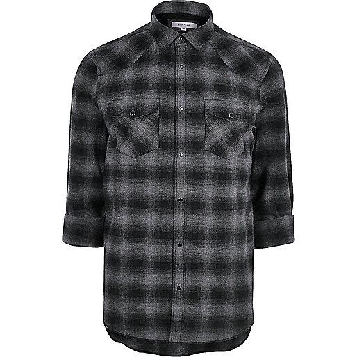 grey casual check western flannel shirt shirts sale men