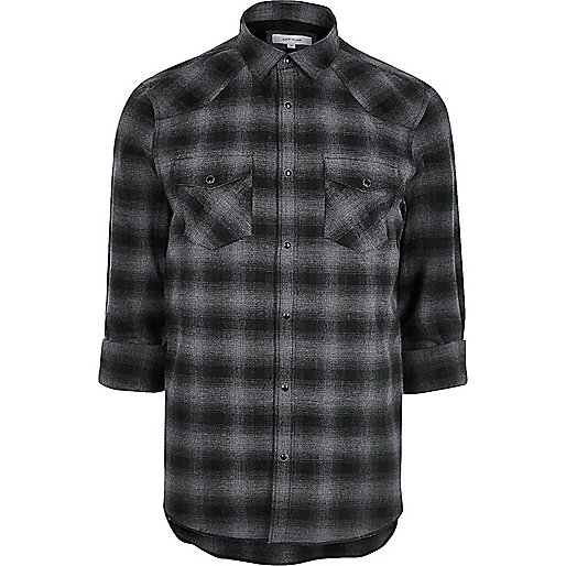 Grey casual check western flannel shirt