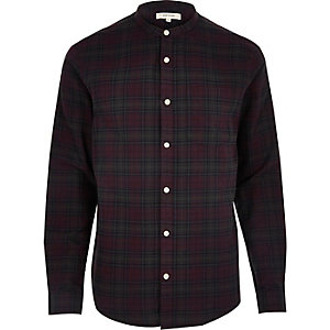 Purple casual check grandad shirt