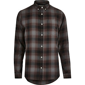 Grey casual check shirt