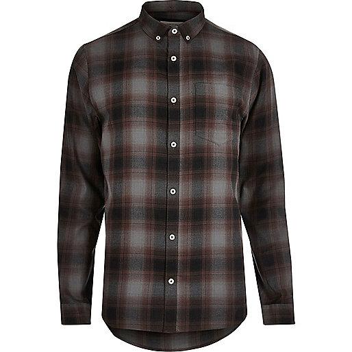 Grey casual check shirt