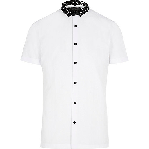 White contrast collar smart slim fit shirt