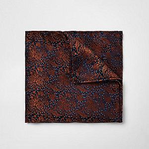 Rust orange print pocket square