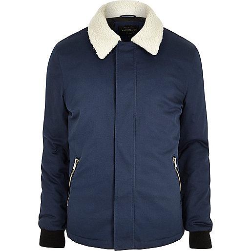 Blue fleece collar jacket