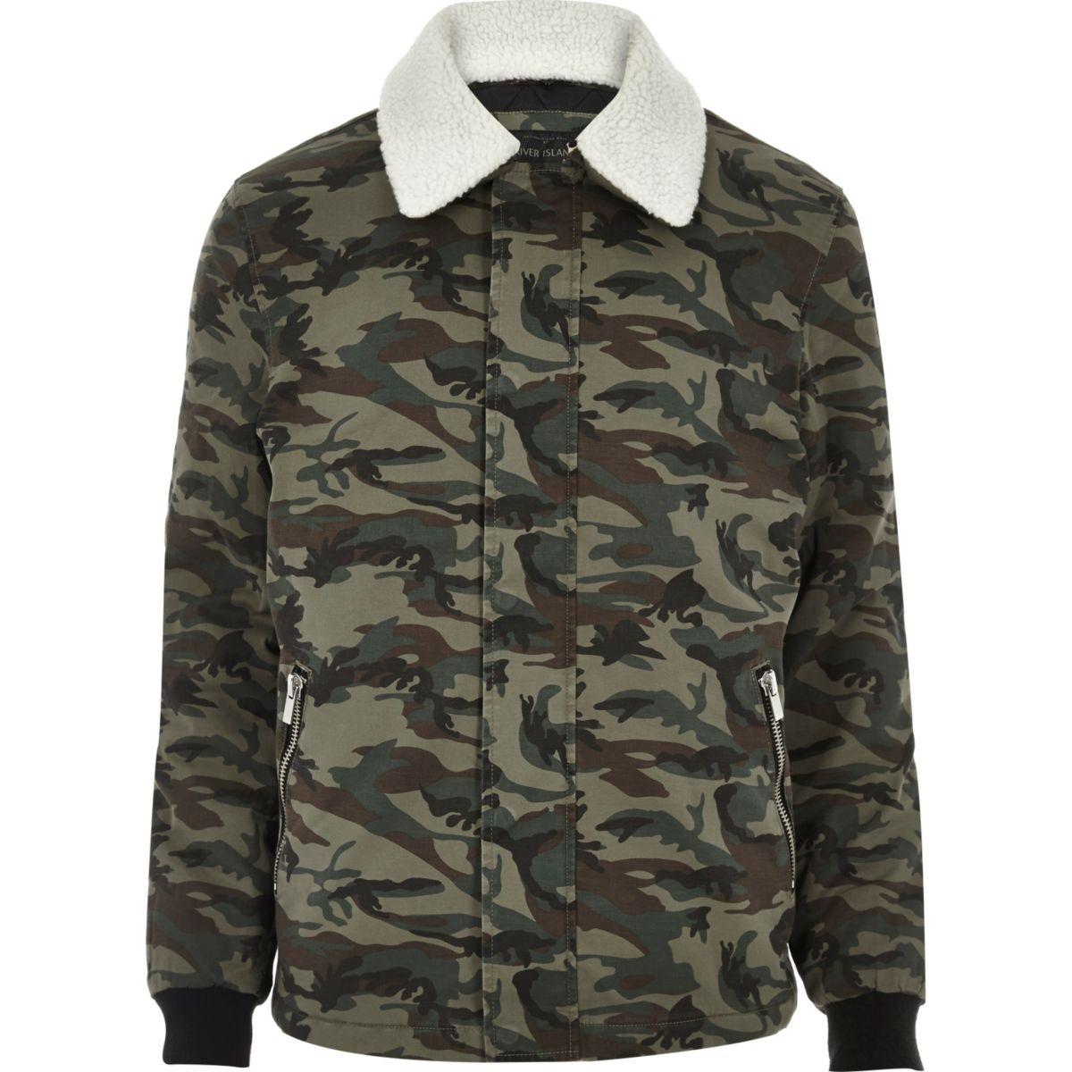 Khaki camo fleece collar jacket