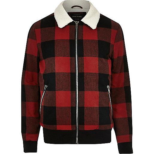 Red check fleece collar jacket