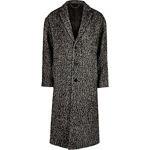 Grey herringbone wool blend overcoat