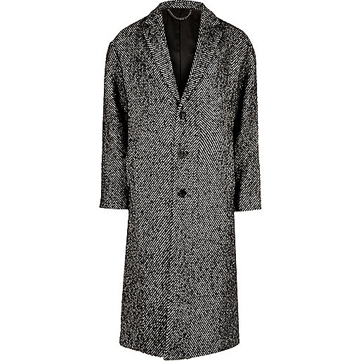 Grey herringbone wool blend overcoat