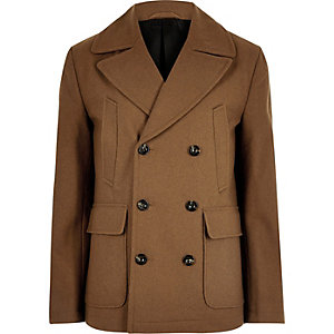 Brown smart wool blend peacoat