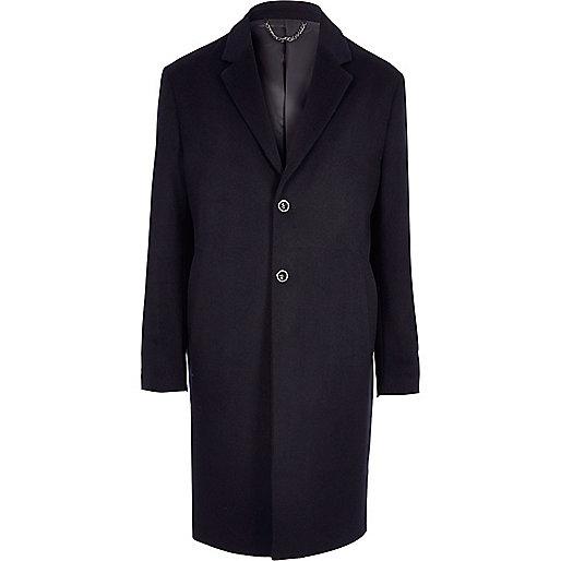 Navy smart wool blend overcoat